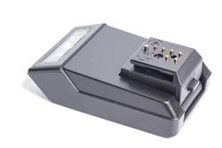 Black Photo Digital Camera Flash isolated on white background.