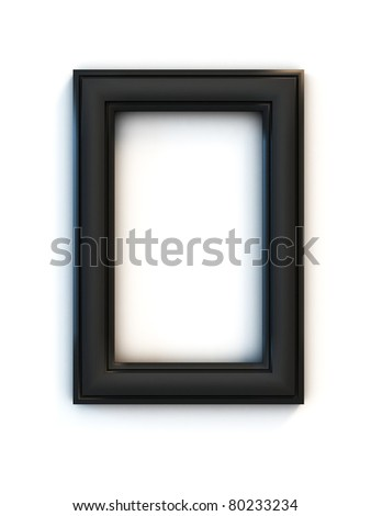 black photo frame over white background