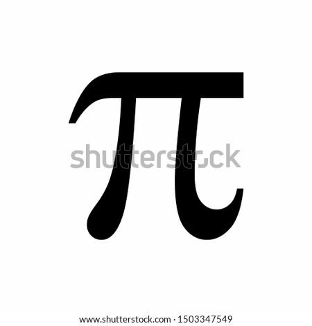 Black Pi symbol isolated on white background