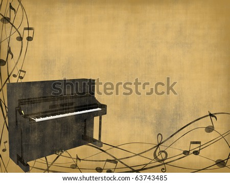 black piano on vintage brown background