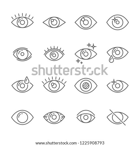 Black pictogram of eyesight or looking eye line icons. Eyeball, watch bright light and human eyes with ophthalmic lenses outline simple pictograms  isolated icon collection on white background