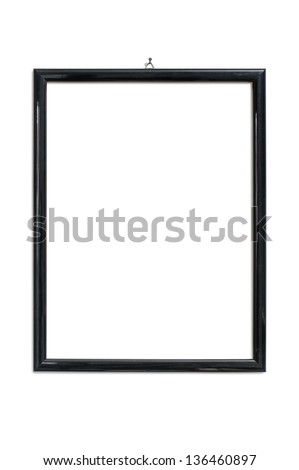 black picture frame hanging on nail, isolated on white