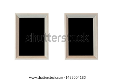 Black picture two piece in wooden square frame isolated on white background. have space for put text and picture.