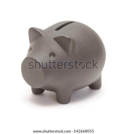Black piggy bank  isolated on white