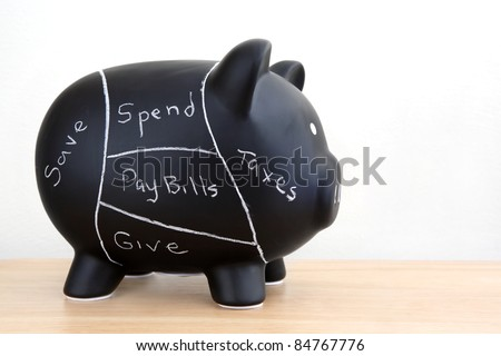 Black Piggy Bank with pork chart spending plan drawn on with chalk