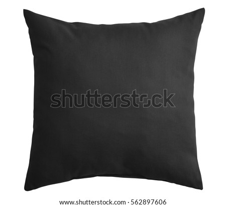 Black pillow isolated on white background. Include clipping path