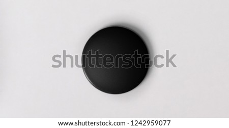 black pin button. Pin button set. Collection of realistic pin buttons. White blank badge pin brooch isolated on white background.