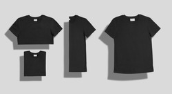 Black plain cotton shortsleeve crewneck t-shirt shot unfolded and folded in three different ways as a set isolated on white