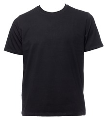 Black plain shortsleeve cotton T-Shirt template isolated on a white background