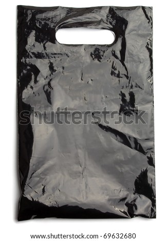 Black plastic bag die cut handle  isolated on white
