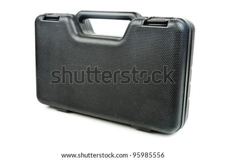 Black plastic case. Photos isolated on white background