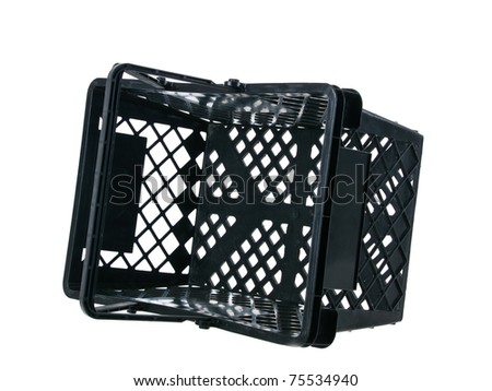 Black plastic fallen basket side view handles up on pure white background