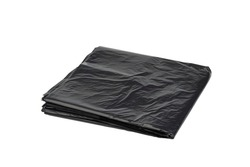 Black plastic garbage bags isolated on white background with Clipping Path