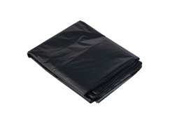 Black plastic garbage bags on white background isolated on white background with Clipping Path
