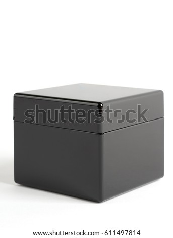 Black plastic glossy box isolated on white #611497814