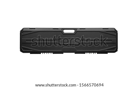 Black plastic hard case for transporting and storing weapons. Gun container isolate on a white background.