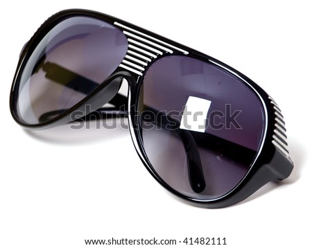 black plastic sunglasses closeup isolated