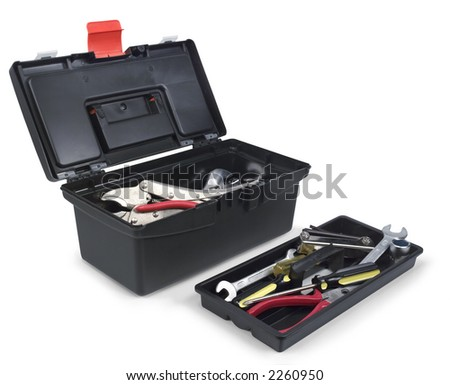 black plastic tool box with tool drawer outside - stock photo