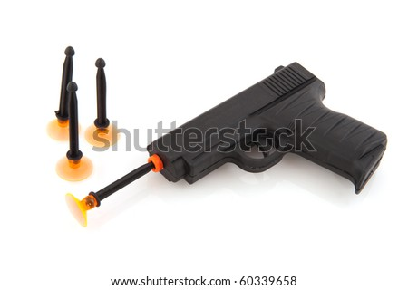 Black plastic toy gun isolated over white