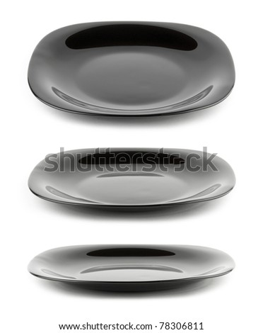 Black plate isolated on white background with different angle of view