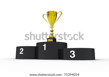 Black podium and gold cup