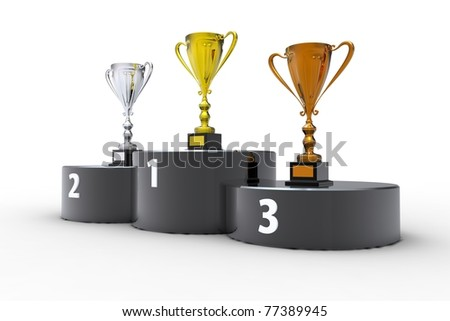 Black podium and three cups