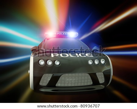 black police car with included flashing lights