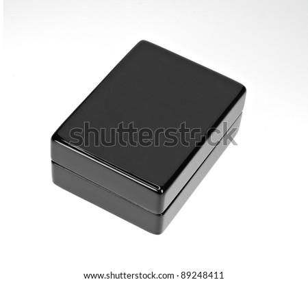 black polished  gift box isolated on white