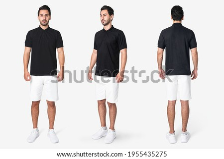Black polo shirt with men's casual business wear full body