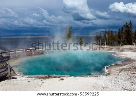 Black Pool hot spring in West Thumb Geyser Basin. Yellowstone National Park.