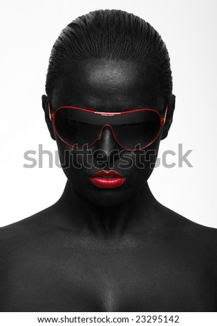 black portrait with red sunglasses
