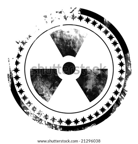 black postal stamp with the nuclear sign on it