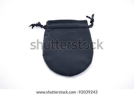 black  pouch to hold Jewelry and delicate items isolated on white