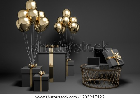 Black present boxes with gold ribbons and many gold balloons tied to them standing in black room with laptop on coffee table. 3d rendering