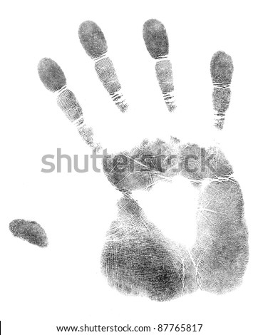 black print of a hand and fingers
