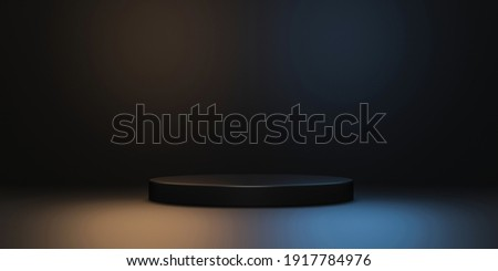 Black product background stand or podium pedestal on advertising neon light display with blank backdrops. 3D rendering.