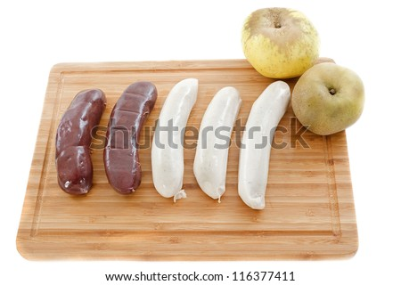 black pudding sausages and white sausage, boudin, on a cutting board