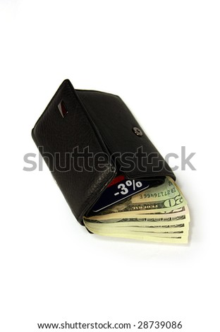 Black purse with dollars and a card