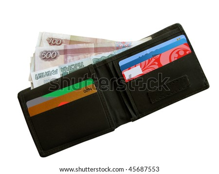 Black purse with money.
