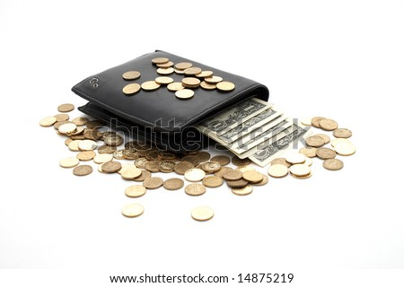 Black purse with money, coins