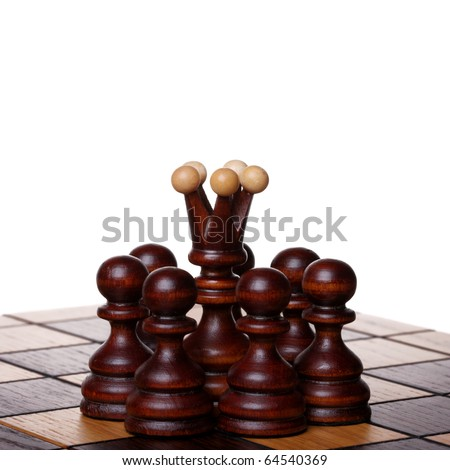 Black queen among pawns on a chess board. Isolated on white
