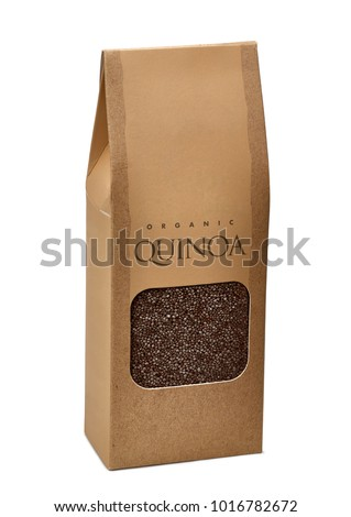 Black quinoa seeds in blank brown paper bag with transparent die cut window on white background including clipping path #1016782672