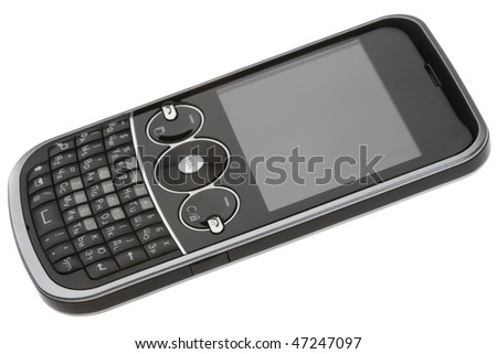 Black QWERTY-smartphone isolated on white