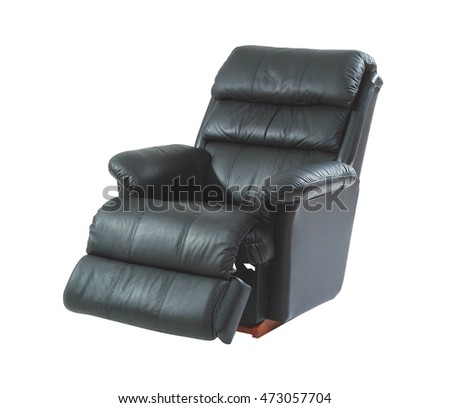 Black reclining chair isolated on white background with clipping path.  ストックフォト ©