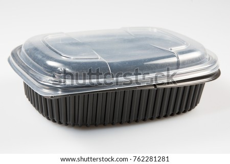 Black rectangle plastic container for production like fresh convenience or frozen food #762281281