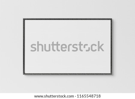 Black rectangular horizontal frame hanging on a white textured wall mockup 3D rendering