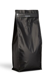 Black Recyclable Box Bottom Doypack isolated on a white background, black coffee pouch