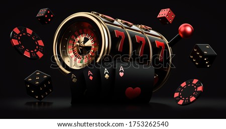 Black Red And Golden Slot Machine With Roulette Wheel Inside, Chips And Dices, Isolated On The Black Background. Casino Modern Concept - 3D Illustration  Stockfoto ©