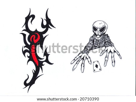 stock photo : Black, red and white tattoo pattern of lobster and skeleton