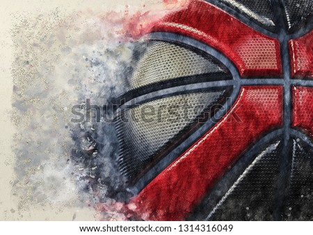 Black-Red Basketball illustration combined pencil sketch and watercolor sketch. 3D illustration.